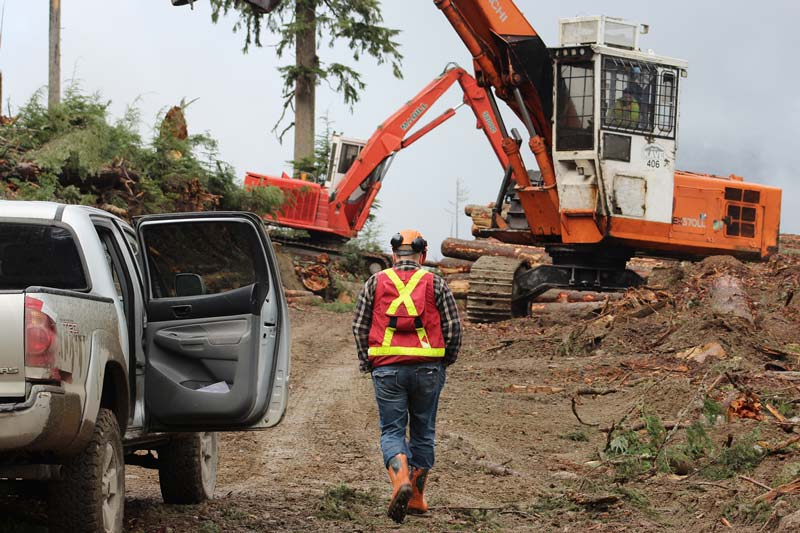 worker walking with visi vest toward machine